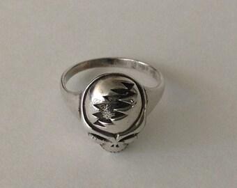 Sterling Silver Rocker Skull Ring, Signed c.1980