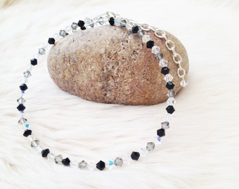 Swarovski elements black grey crystal clear bicone beaded choker.  Special occasion crystal beaded choker uk