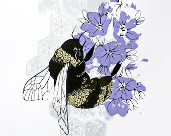 limited edition screen print - bee print - bumble bee artwork - bee and lavender - black and gold art - hand printed screenprint