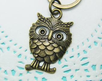 Owl Keychain, Owl Key Chain, Owl Key Ring,Bronze Owl Charm, Owl Jewelry, Bird Jewelry,Cute Keycahin, Personalized  Keychain,  Charm Keychain