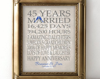 45th Wedding Anniversary Gift Ideas For Husband : 45th Wedding Anniversary Gift for Parents Sapphire Anniversary Gift 45 ...