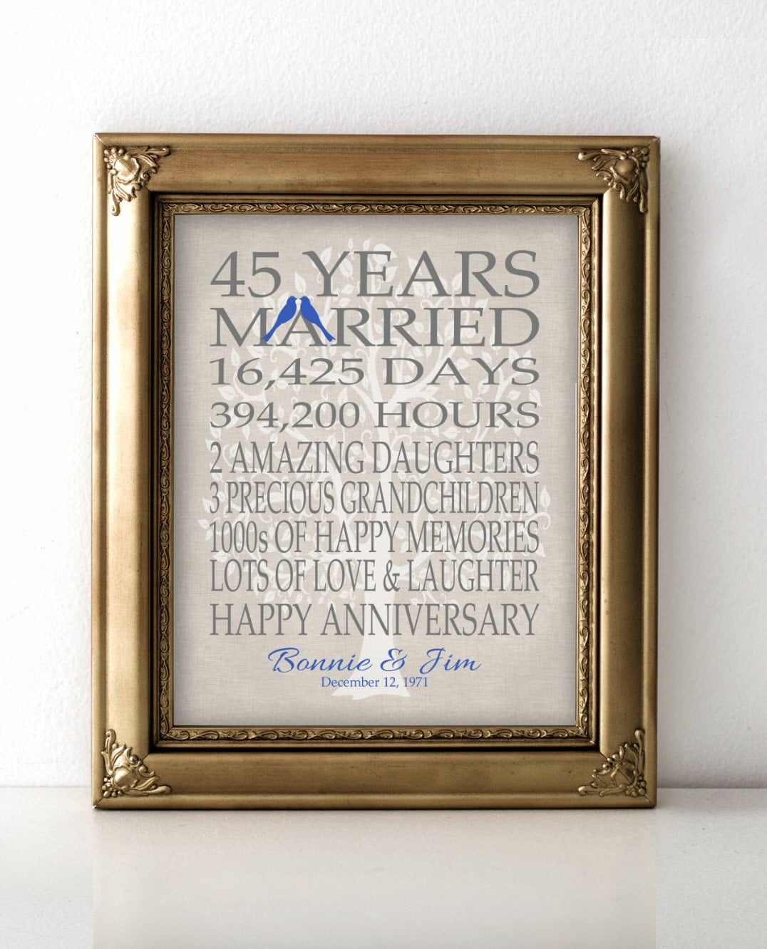Gift Of Wedding Anniversary: 45th Wedding Anniversary Gift For Parents Sapphire Anniversary