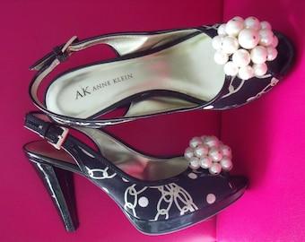 Never Worn Anne Klein Shoes HEELS PEARLS Deco Peep Toe Sling Back SZ 6M