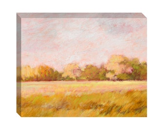 Canvas print landscape, sunny day, fields and trees, green, yellow, pink, lavender painting, country scene, rural