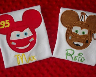 Lightning McQueen or Mater Ears Disney Vacation Appliqued Shirt