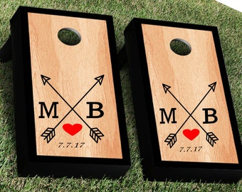 Arrows and Heart Cornhole Decal Set | Bride Groom CornHole Sticker | Personalized Wedding Cornhole Decal | Wedding Decal | Corn Hole Decal