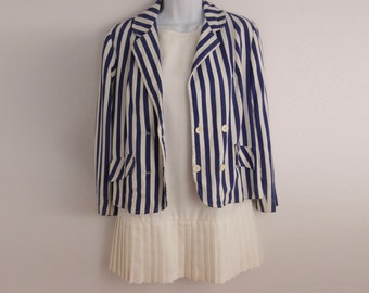 Vintage 1960s blue striped blazer size M union made