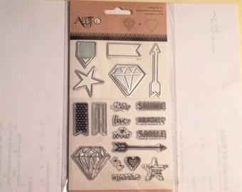 Art-C DIAMOND Str banner Stamp & Die set cc22