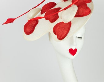 Amy - fascinator - sinamay - lovehearts - special ocassion - red - white