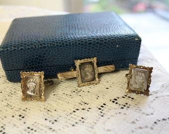 Antique Cameo Cufflinks Tie Bar,  Roman Soldier Cameo Cufflink Tie Tack Set, Vintage Men's Gift.Vintage Groom Gift, Vintage Men's Jewelry