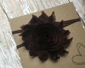 Brown Shabby Flower Headband
