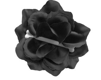 Dem Bones Black Large Rose Hair Flower