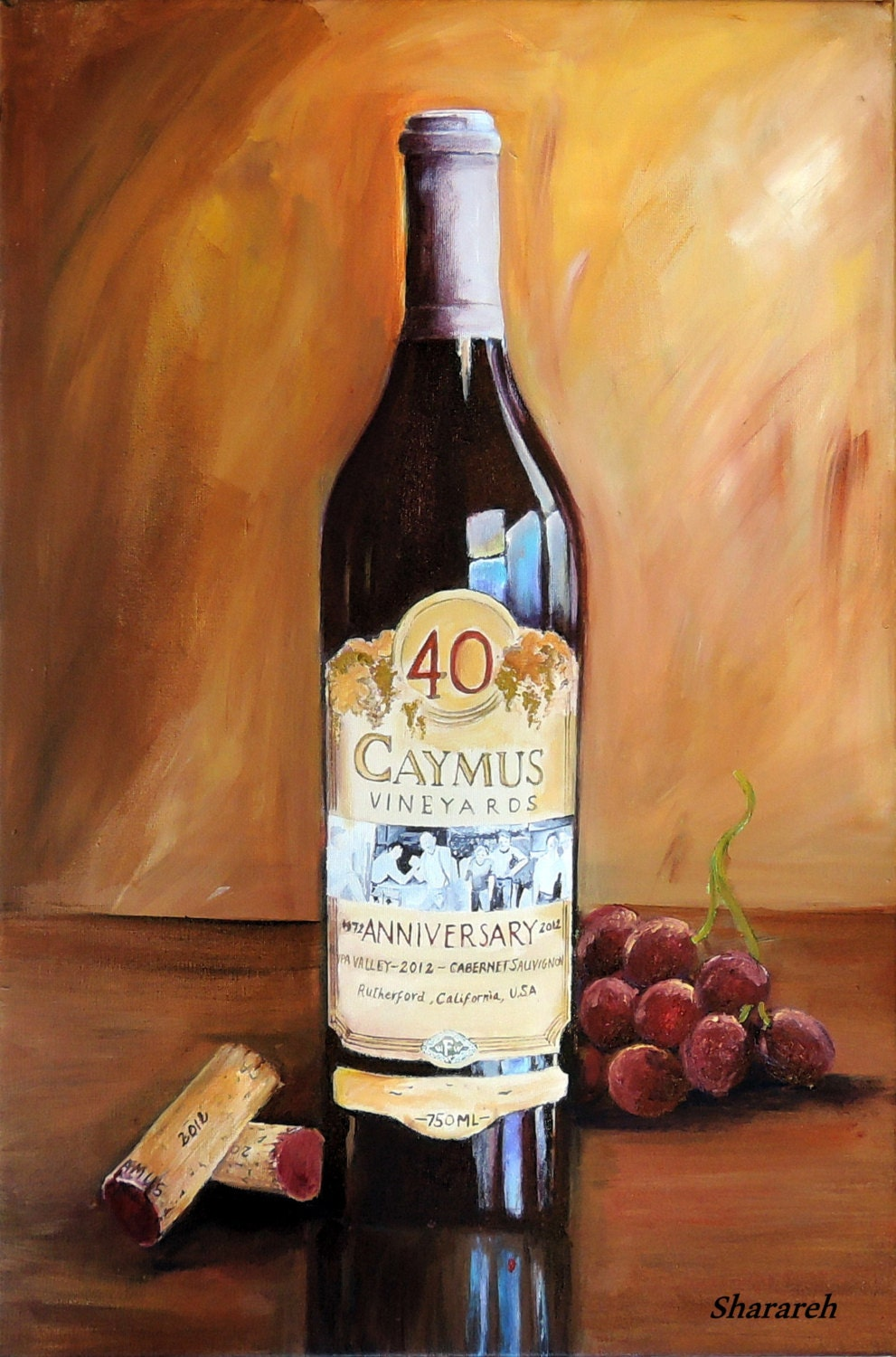 Caymus wine painting caymus 40th anniversary wine bottle with for Paint vino