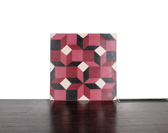 Vintage Original Geometric Oil Painting Tumbling Blocks. Signed by the Artist