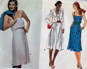 7601 Vogue Sewing Pattern Fitted Flared Dress & Jacket Size 10 Vintage 1980s
