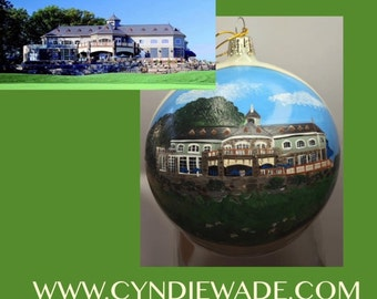 Custom Painted House ball Ornaments Bulb 5""