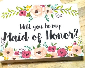 Will You Be My Maid Of Honor Card, Wedding Maid Of Honor Card, Be My Maid of Honor, Wedding Card, Bridesmaid Card