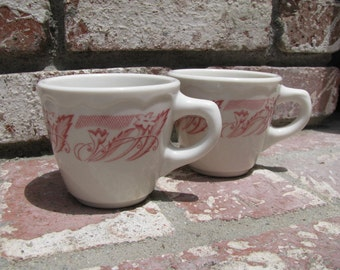 2 Vintage Syracuse Restaurant Ware Coffee Cups With Pink Floral and Leaf Border