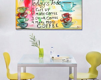 """Coffee Art ~ """"To Do list"""" quote, hand painted cute kitchen list, kitchen decor"""