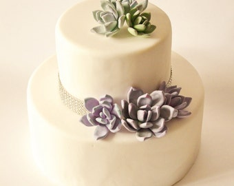 Succulent Cake Topper Flower Cake Topper Wedding Cake Flower Floral Wedding Cake Topper Clay Wedding Cake topper