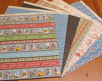 Graphic 45 Mother Goose Collection Six Sheets Double Sided Scrapbook Paper