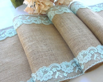 Wedding Table runner Turquoise pastel lace Burlap table runner rustic wedding linens party table home decor handmade in the USA