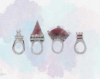 Illustrated ring print