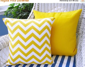 SALE Pillow Covers, Pillows, Yellow Pillows, Decorative Throw Pillows, Beach Decor, Solid Yellow Pillow, Chevron Pillow, 18 x 18 , Set of 2
