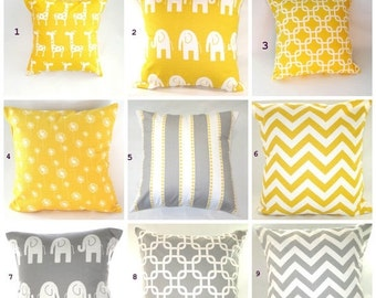 CLEARANCE SALE Pillow Cover, Pillow, Decorative Pillow, Decorative Throw Pillow, Throw Pillow, Nursery, Baby.Yellow Pillow, Gray Pillow