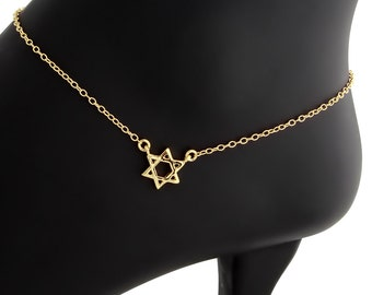 Star of David Jewish Religious Symbol Hexagram Geometric Shape Charm Pendant Anklet #14K Gold Plated over 925 Sterling Silver #Azaggi A0608G