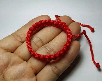 "Kids Baby Child 3-5"" lench Thai Buddhist Braided Cotton Wristband Bracelet Monk Blessed Fair Trade Handmade adjustable Custom Color"