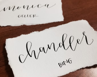 TORN EDGE // Hand-lettered Custom Calligraphy Place Cards // Weddings and Parties