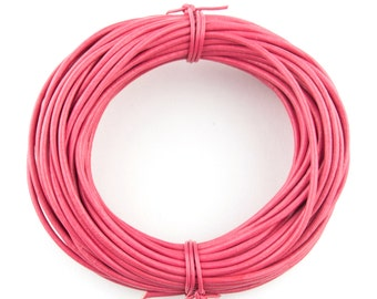 Pink Round Leather Cord 1.5mm, 25 meters (27 yards)