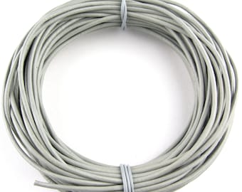 Gray Round Leather Cord 2mm 10 Feet