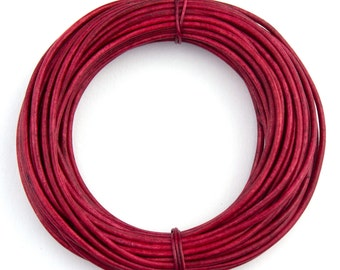 Hot Pink Natural Dye Round Leather Cord 2mm - 10 Feet