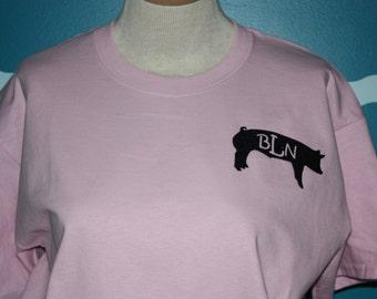 Personalized Pig T-shirt - Monogrammed hog shirt - Custom made Pig t-shirt - Livestock hog t-shirt - monogrammed pig shirt