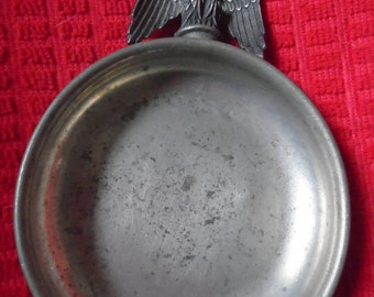 Vintage Round Pewter Ashtray With American Eagle