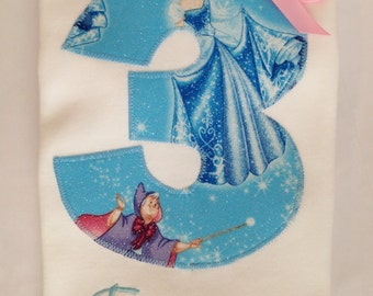 Cinderella Birthday Party Shirt, Girls Disney Princess Blue Sparkle Fabric, Applique Number Tee. Embroidered Monogram, Personalized Gift