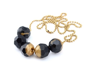 Midnight Black and Shimmery Gold Resin Bead Necklace. Faceted Geometric Handmade Beads. Metal Ball Chain. One of a Kind. Handcrafted in Aust