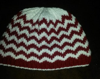 Chevron Hat Red & White Snug Fit-  Winter