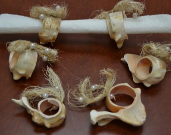 6 pcs set of PINK MUREX sea shell beach theme napkin rings #t-1864