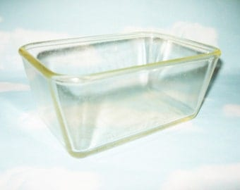 Vintage Glasbake baking dish, loaf pan, heavy yellow tinted glass, 7.5 by 5