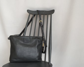 Soft black leather cross body bag, black leather tote bag, black leather messenger, black leather laptop bag, black leather shoulder bag