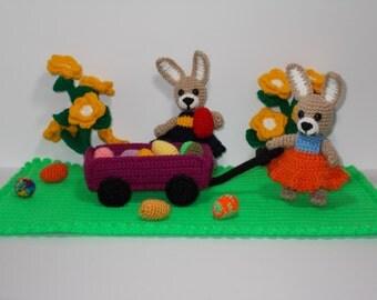 """PDF crochet pattern - Amigurumi - """"Handcart journey to Easter"""""""