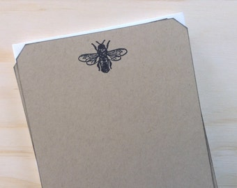 vintage inspired flat note cards and envelopes, stationery set, bee, set of 10, a2