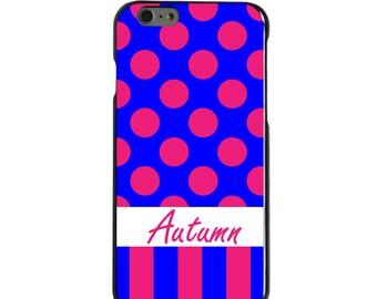 Hard Snap-On Case for Apple 5 5S SE 6 6S 7 Plus - CUSTOM Monogram - Any Colors - Pink Blue Polka Dots Stripes