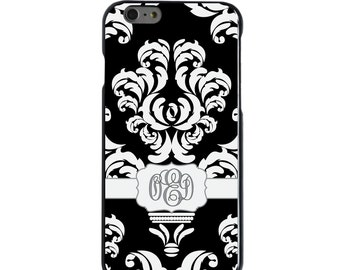 Hard Snap-On Case for Apple 5 5S SE 6 6S 7 Plus - CUSTOM Monogram - Any Colors - Black Grey White Damask Ribbon