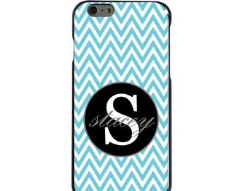 Hard Snap-On Case for Apple 5 5S SE 6 6S 7 Plus - CUSTOM Monogram - Any Colors - Blue White Chevron Gray