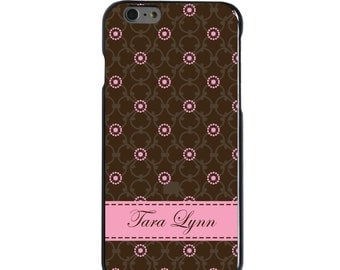 Hard Snap-On Case for Apple 5 5S SE 6 6S 7 Plus - CUSTOM Monogram - Any Colors - Brown Pink Floral Pattern Name