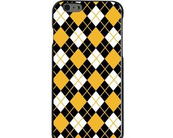 Hard Snap-On Case for Apple 5 5S SE 6 6S 7 Plus - CUSTOM Monogram - Any Colors - Missouri Mizzou Tigers Colors - Argyle Pattern